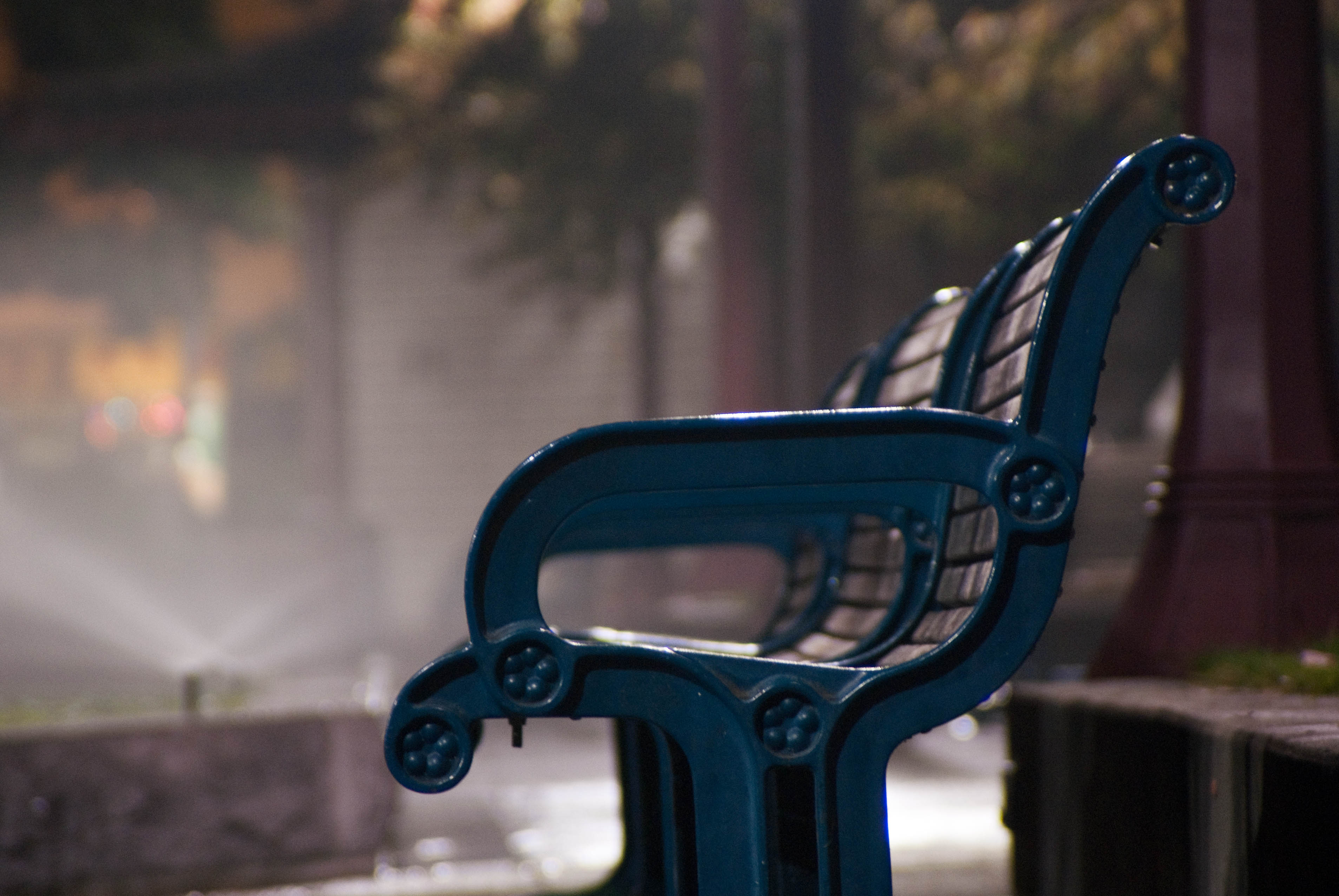 12862 Portsmouth Square benches with water sprinkler mist