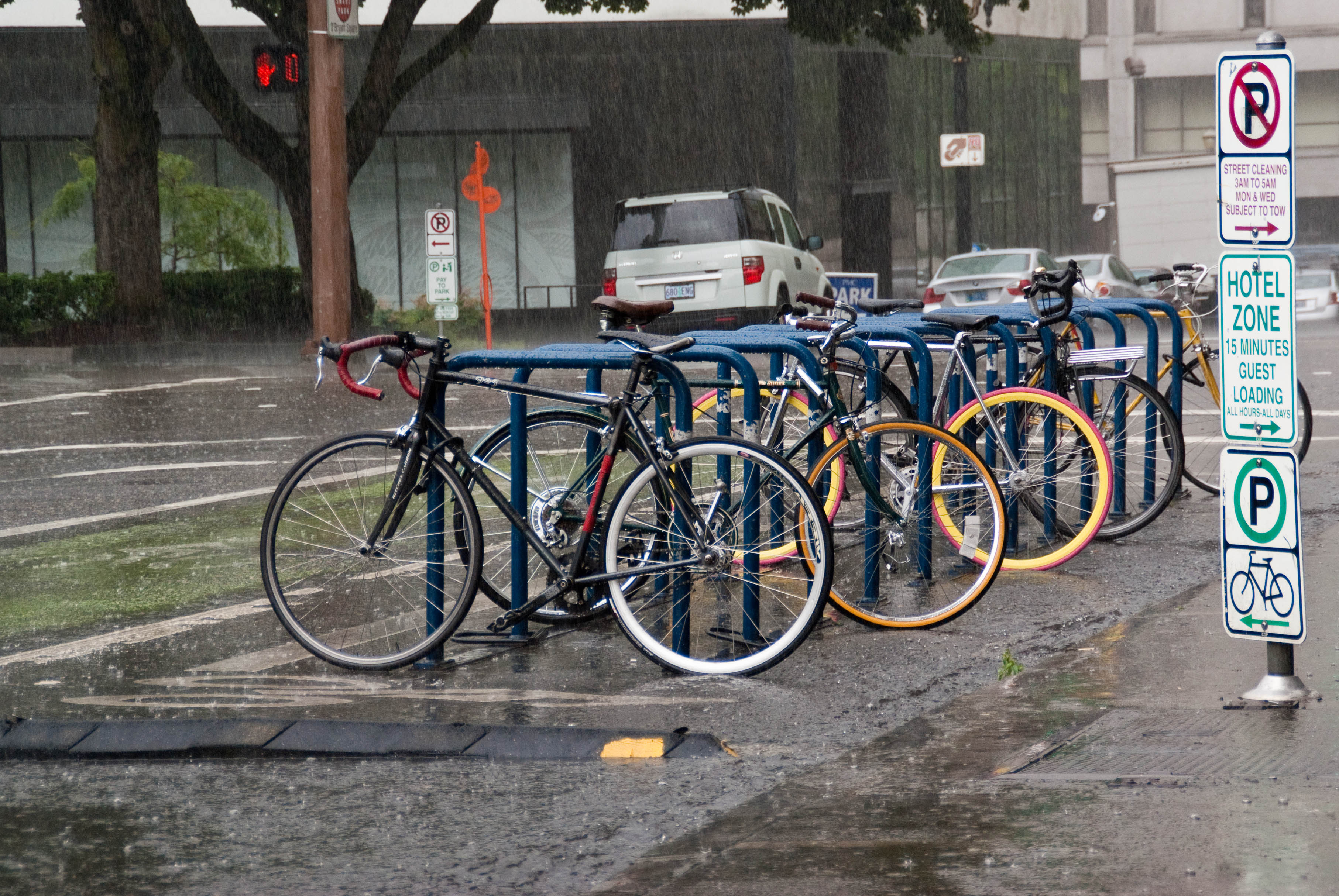 21383 I head out to ride and see wet bike corral on SW Stark before SW 10th Ave.